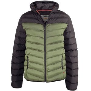 D555 Kingsize Hewlett Hooded Padded Jacket Black/Khaki