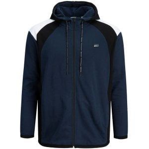 Jack & Jones Kingsize Nolan Zip Hoodie Navy Blazer