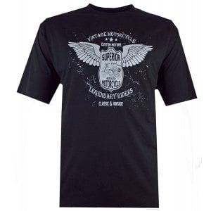 Espionage Kingsize T311 Vintage Motorcycle T-Shirt Black