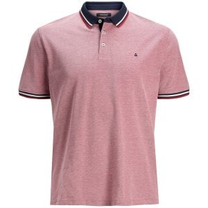Jack & Jones Kingsize Paulos Twin Tipped Polo Rio Red
