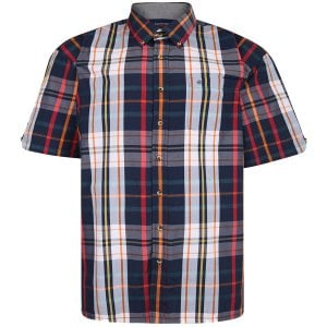 Espionage Kingsize SH332 Check S/S Shirt Navy/Red