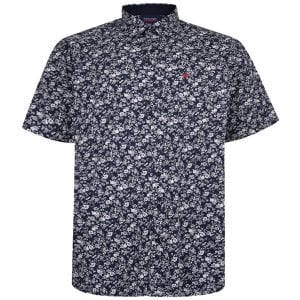 Espionage Kingsize SH341 Floral S/S Shirt Navy/White