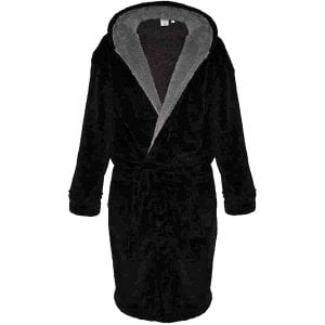 D555 Kingsize Newquay Super Soft Dressing Gown With Hood Black