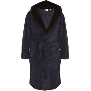 D555 Kingsize Newquay Super Soft Dressing Gown With Hood Navy